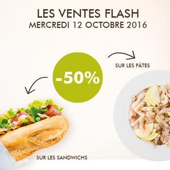 50% de réduction sur les sandwichs et les pâtes