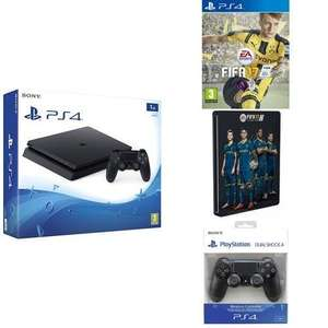 Console Sony PS4 Slim 1 To (Chassis D) + FIFA 17 + 2ème Manette Dual Shock 4 (Nouvelle version) + Steelbook