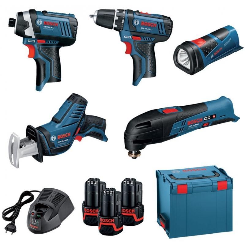 Lot de 5 outils sans-fil Bosch Professional - découpeur-ponceur + lampe + perceuse-visseuse + scie sabre + visseuse à choc (10.8 V)