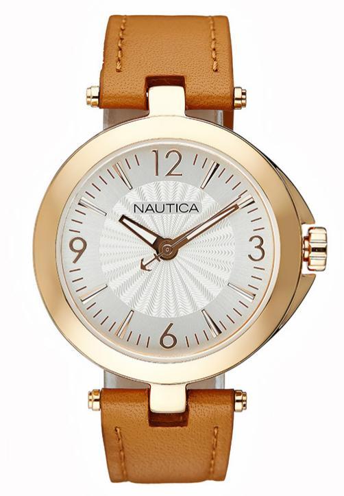 Sélection de montres Nautica en promotion - Ex : Montre à quartz en cuir pour Femme (Marron et doré)