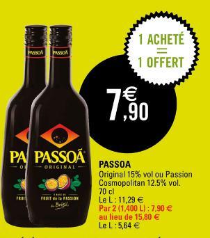 2 Bouteilles de Passoa 70 cl (via BDR + Quoty)