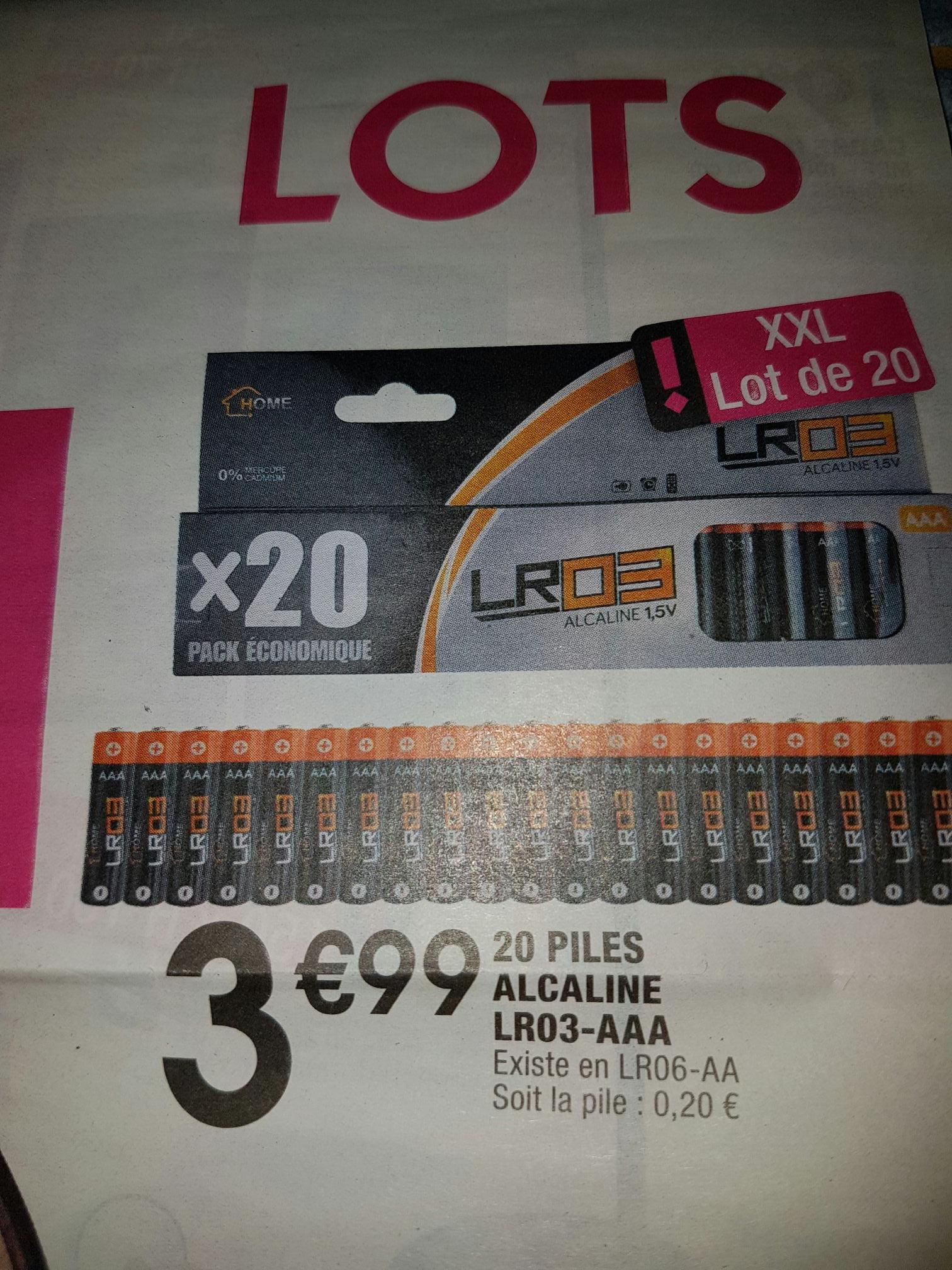 Lot 20 piles Alcaline LR03 AAA ou LR06 AA