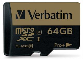 Carte microSDXC Verbatim Pro+ U3 UHS-I Classe 10 (jusqu'à 90 Mo/s) - 64 Go