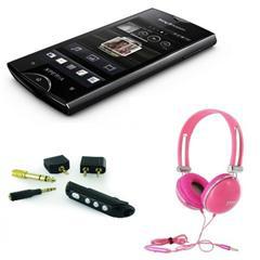 Smartphone Sony Ericsson Xperia Ray Noir (reconditionné) + Casque Oxo Basic 3,5mm Rose + Adaptateurs Bluetooth audio stéréo
