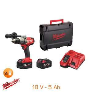 Coffret perceuse à percussion Fuel Milwaukee 18V - 2 bat Li-Ion 5Ah + chargeur