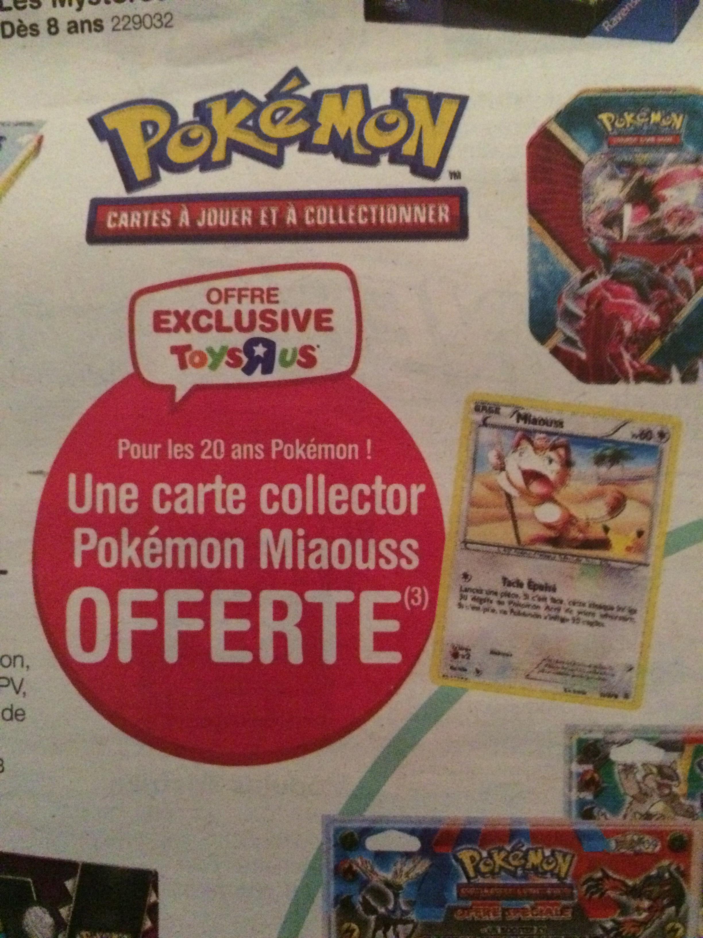 Carte Pokémon Miaouss offerte sur simple visite
