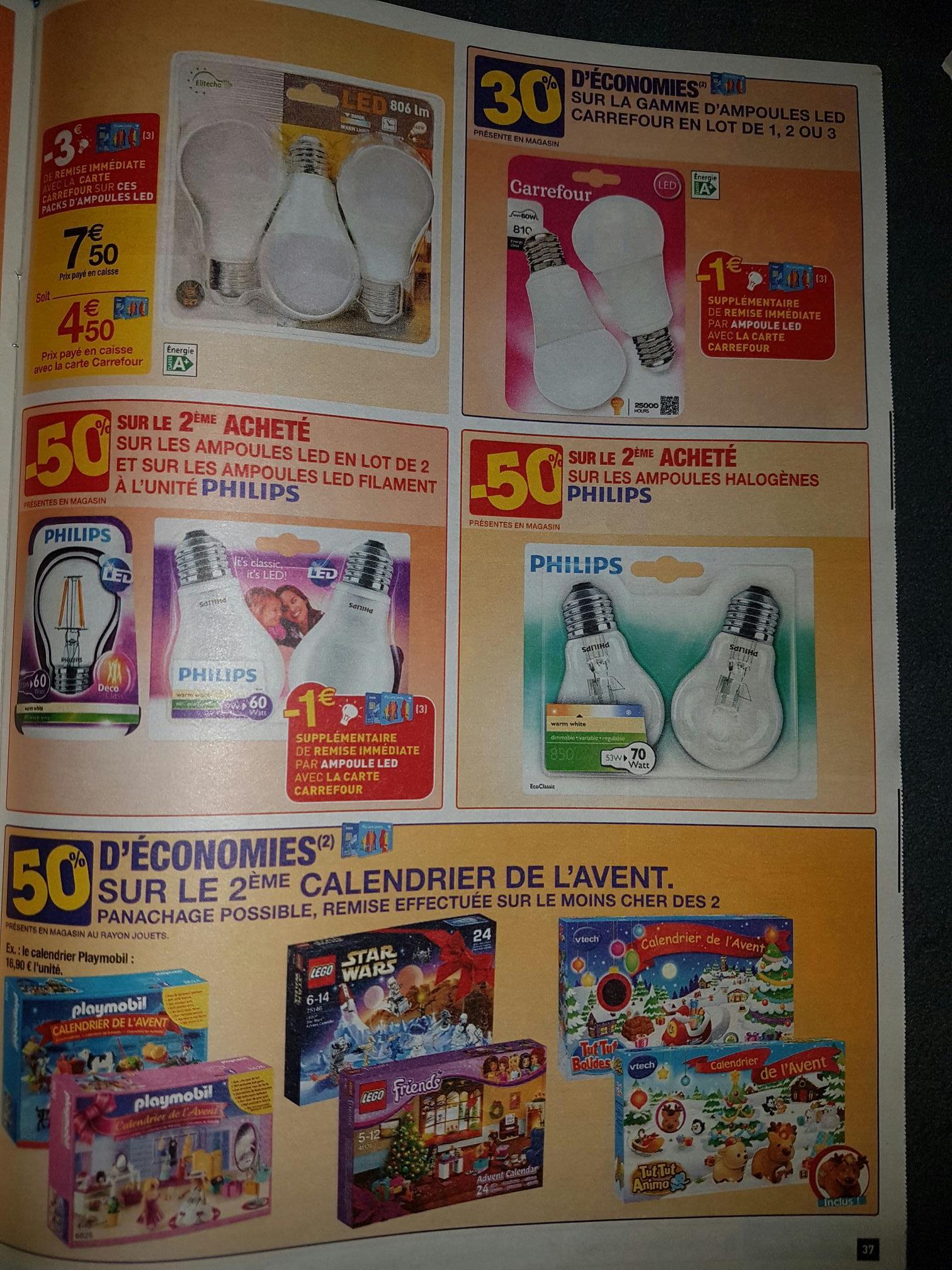 Sélection d'Ampoules Led en promotion - Ex : Pack 3 Ampoules Led 806lm (via 3€ de réduction immédiate avec la carte de fidélité)