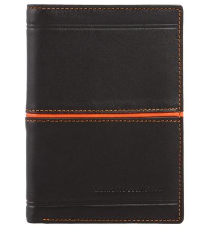 Portefeuille en cuir Lafayette Collection Marron/Orange ou Noir/Bleu