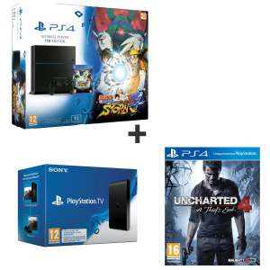 Pack Console Sony PS4 1 To + Naurto Ultimate Ninja Storm 4 + Uncharted 4 + PlayStation TV