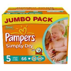 Pack de 132 Couches Pampers Simply Dry Taille 5 Junior 11-25 kg