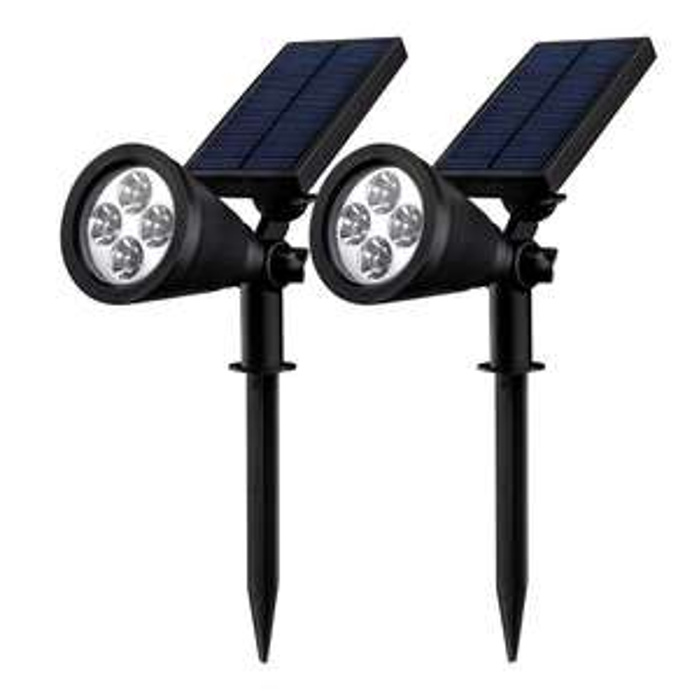 Lot de 2 Luminaires solaires à LED Mpow PT-FR-D8LSM Noir pour Extérieurs - IP65, 200lm