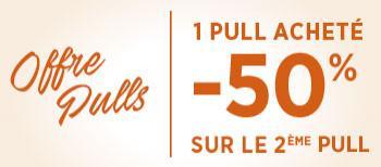 50% de réduction sur le 2ème pull Homme & Femme (le moins cher des 2)