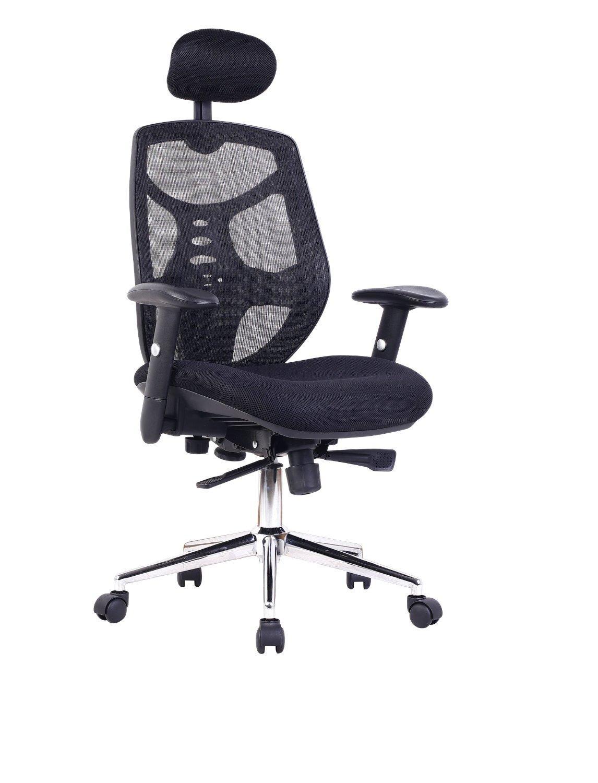 Fauteuil de bureau ergonomique Eliza Tinsley Mesh avec Appui-tête réglable - Chrome / Noir