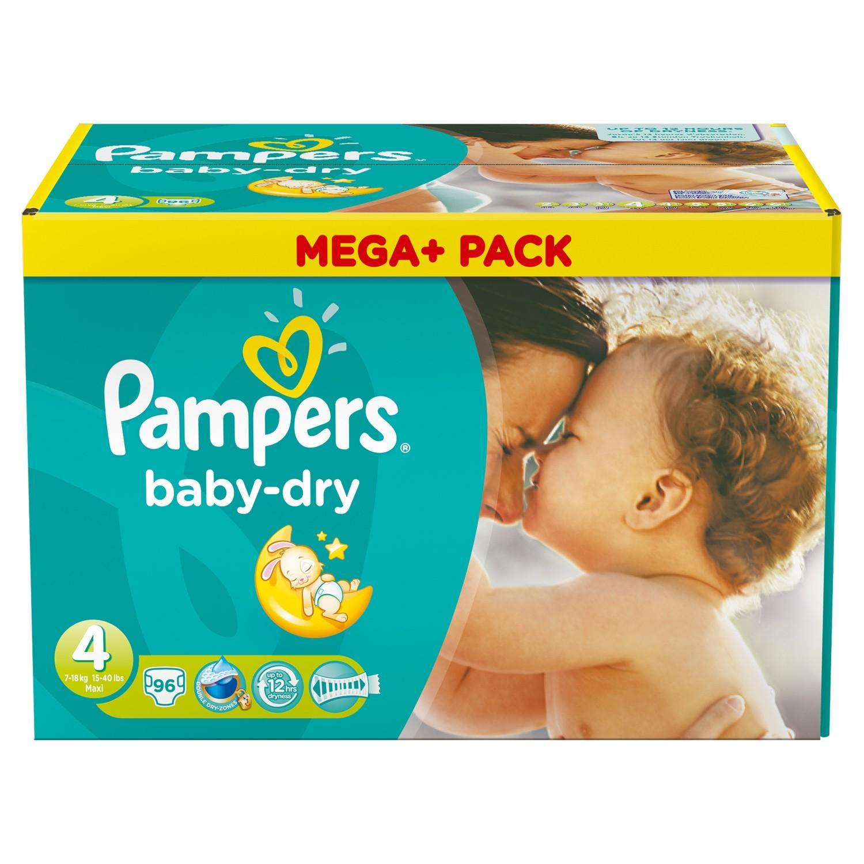 Pack 96 couches Pampers baby-dry toutes tailles, (avec 14.50€ sur la carte)