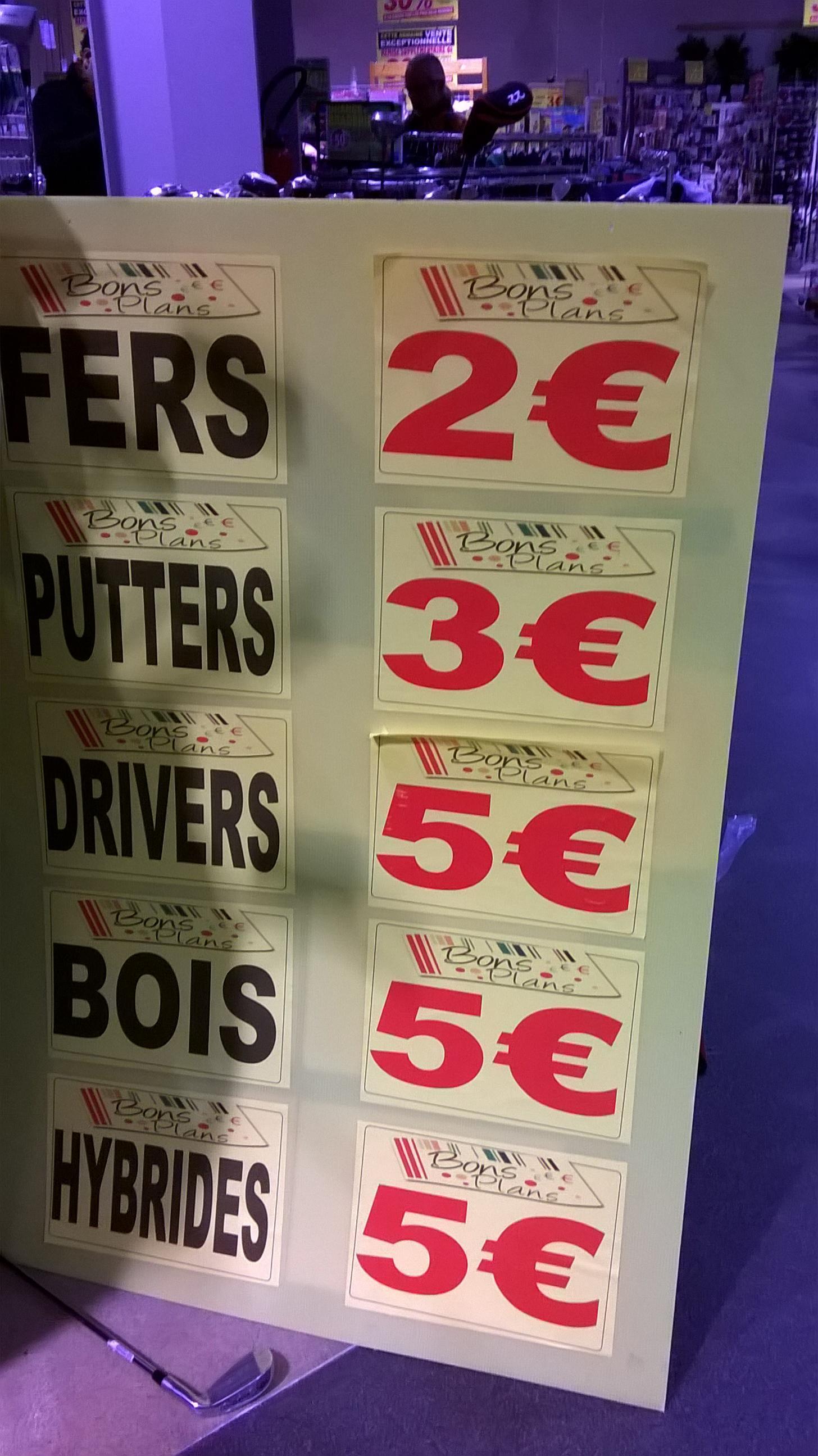 Sélection de clubs de golf