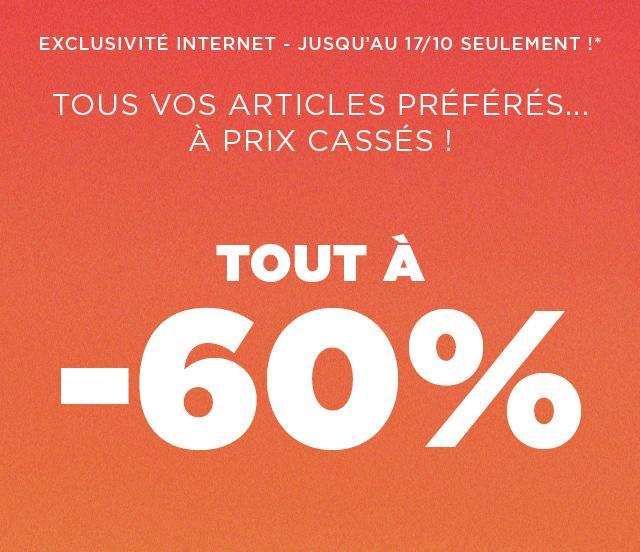 60% de réduction sur tout le site