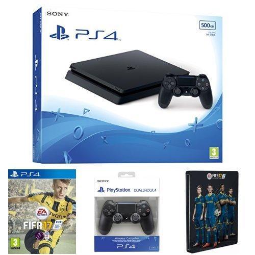 Pack console Sony PS4 Slim (500 Go, châssis D) + 2ème manette DualShock 4 + FIFA 17 (avec steelbook)