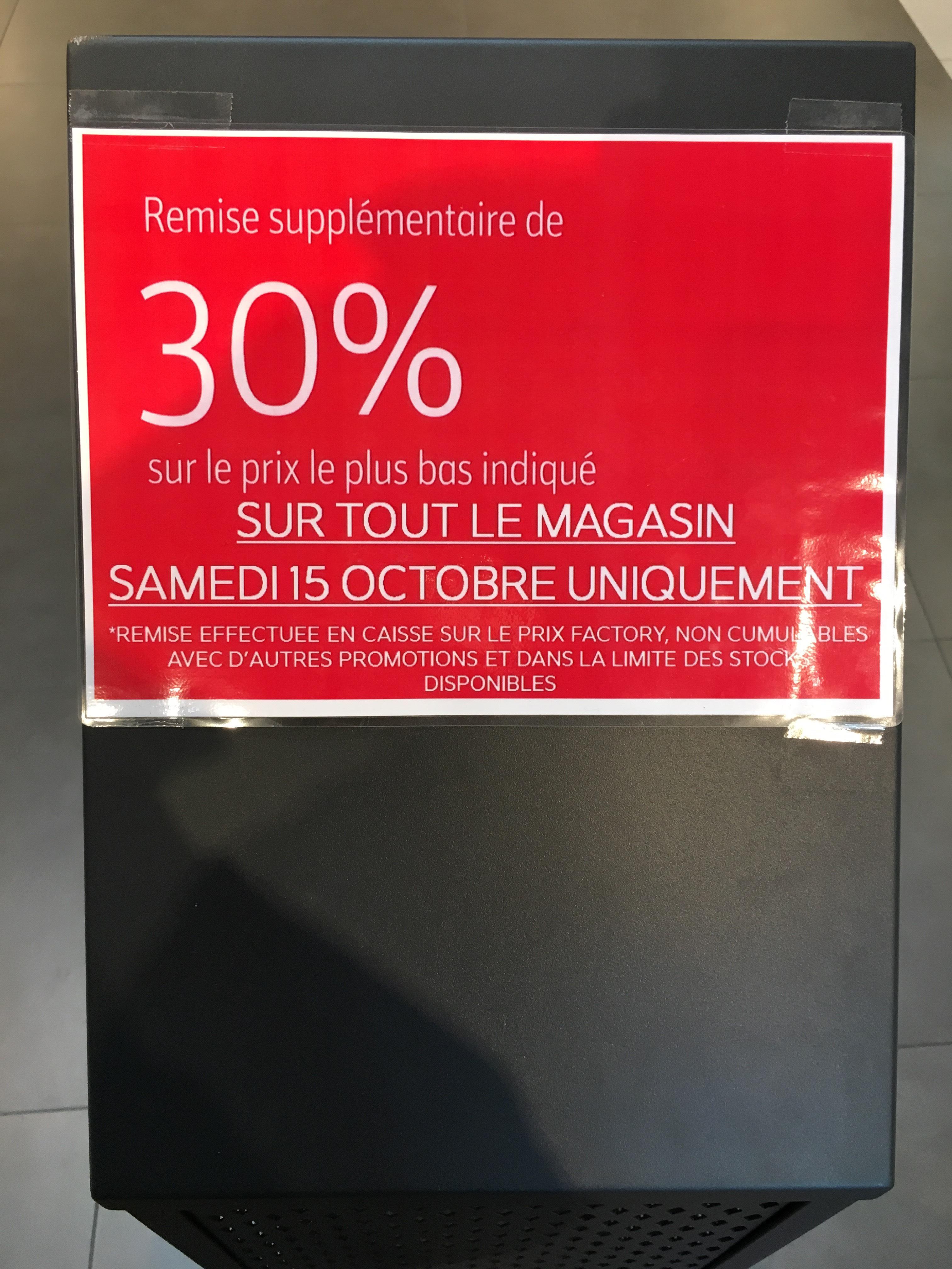30% de réduction sur tout (hors promotions)