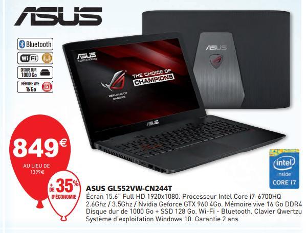 """PC portable 15.6"""" Asus GL552VW-CN244T - i7-6700HQ, 16 Go RAM, 1 To + 128 Go SSD, GeForce GTX960M, QWERTZ,"""