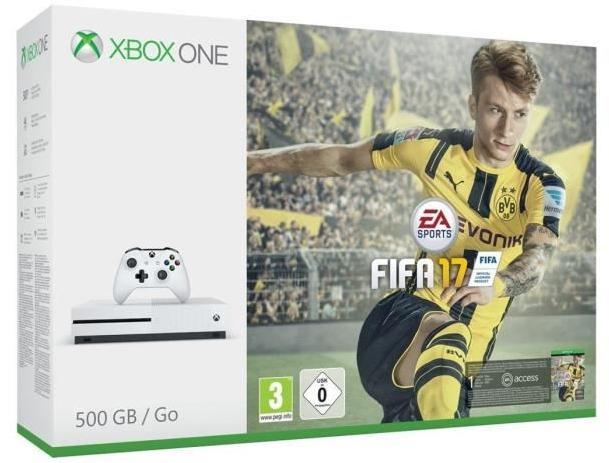 Console Xbox One S 500 Go + Fifa 17 (dématérialisé) + Gear of Wars 4 (physique) + 3 mois à Now TV