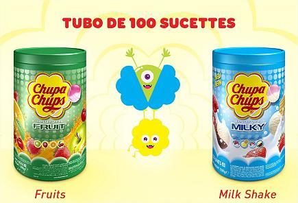 Lot de 100 sucettes Chupa Chups - Fruits ou Milky Shake