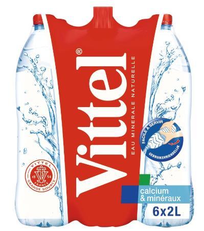 Lot de 2 packs 6x2L d'eau minérale naturelle Vittel - 24 L