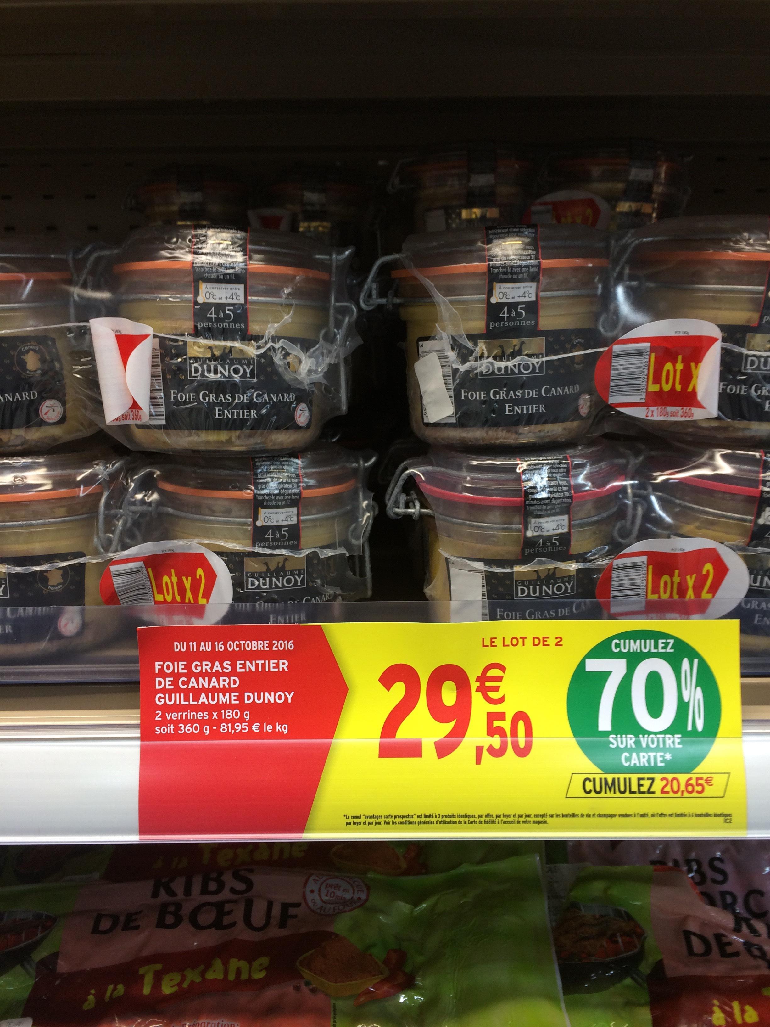 Foie gras de canard entier Guillaume Dunoy - 2x180g (via 20,65€ crédités sur la carte)