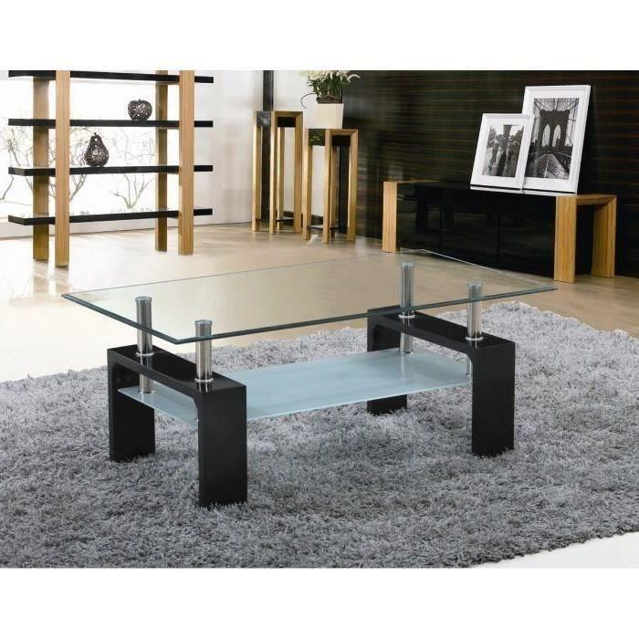 Table basse Sofia avec plateau en verre - laquée noire ou blanche