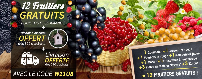 12 fruitiers gratuits pour toute commande ou en payant 5.99€ de frais de port