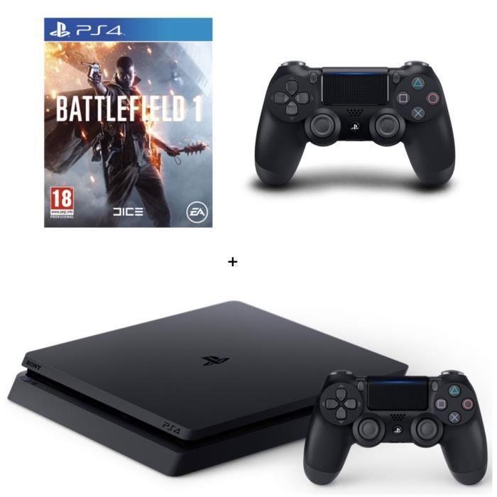 Pack console Sony PS4 Slim (500 Go, châssis D) + 2ème manette DualShock 4 + Battlefield 1