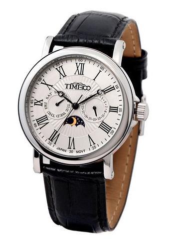 Montre quartz Time100 pour Homme - Sportive, Bracelet cuir, Phase du soleil et Dateur