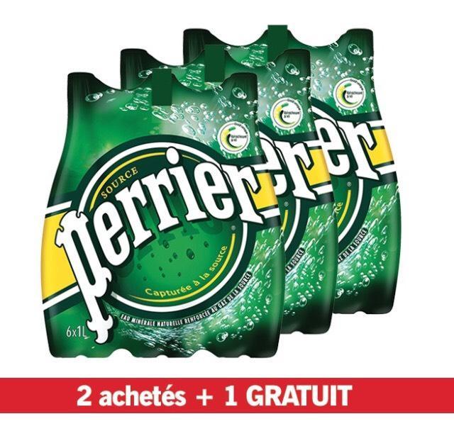 Lot de 3 packs de 6 bouteilles d'eau gazeuse Perrier - 1 L
