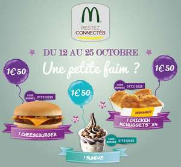 Sélection d'offres promotionnelles - Ex : Cheeseburger