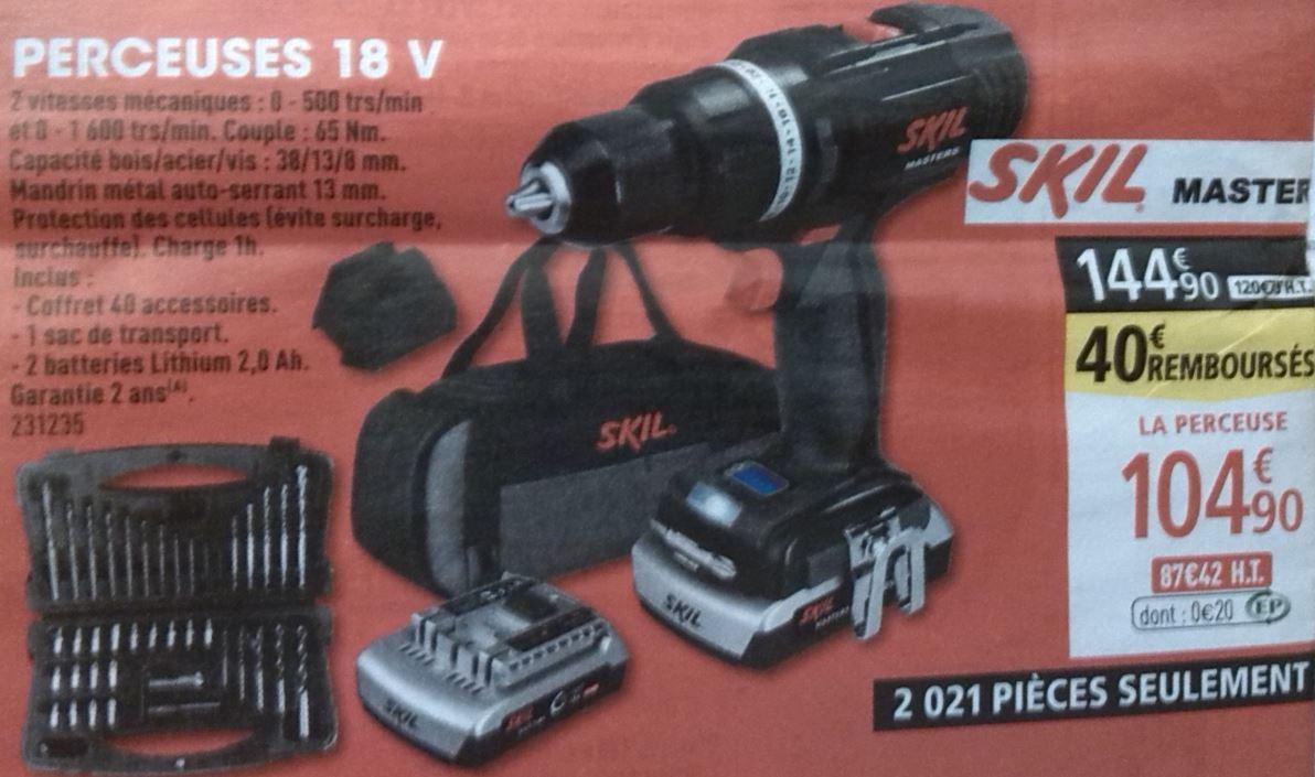 Perceuse-visseuse Sans-fil Skil Masters - 18V + 2 Batteries Li 2.0Ah + Coffret d'outils (Via ODR 40€)