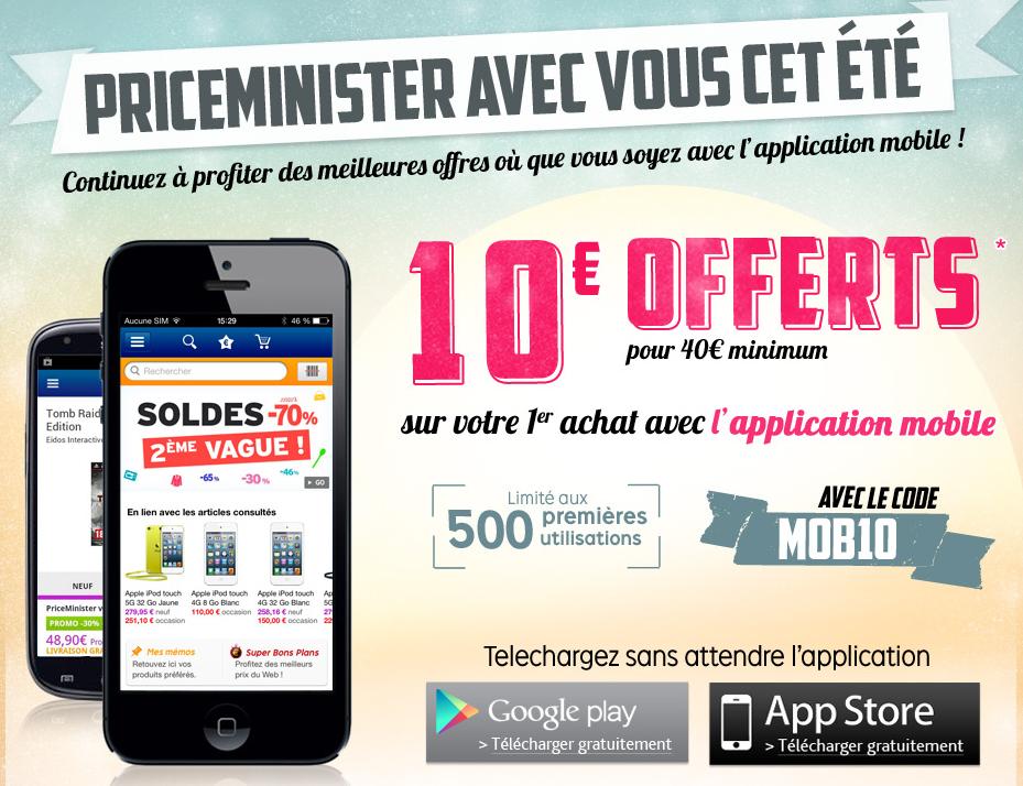 10€ offerts dès 40€ d'achats sur l'application mobile