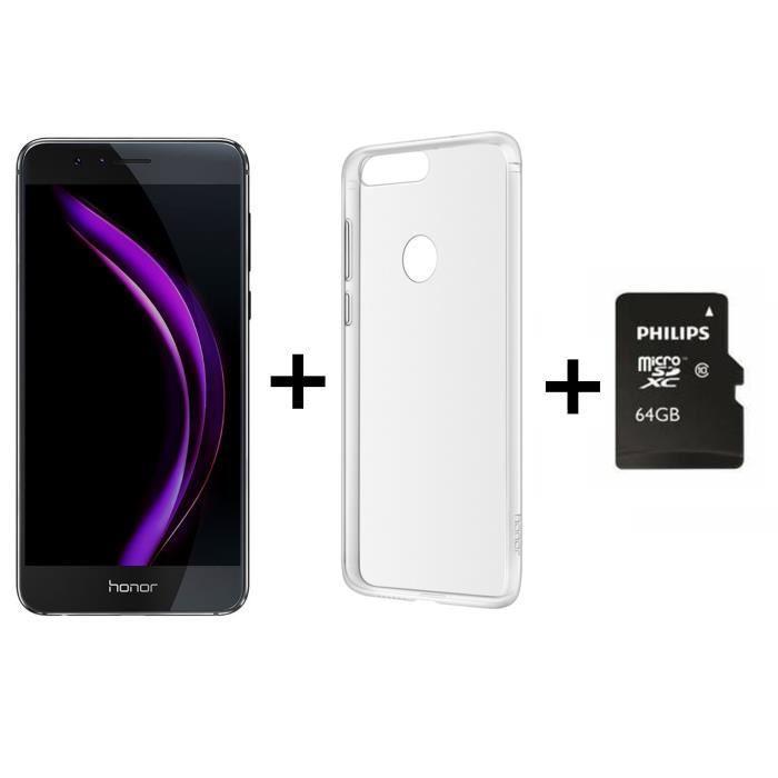 """Smartphone 5.2"""" Honor 8 (double-SIM, 4 Go de RAM, 32 Go, bleu ou noir) + coque transparente + carte microSDXC Philips - 64 Go (via ODR de 30 €)"""