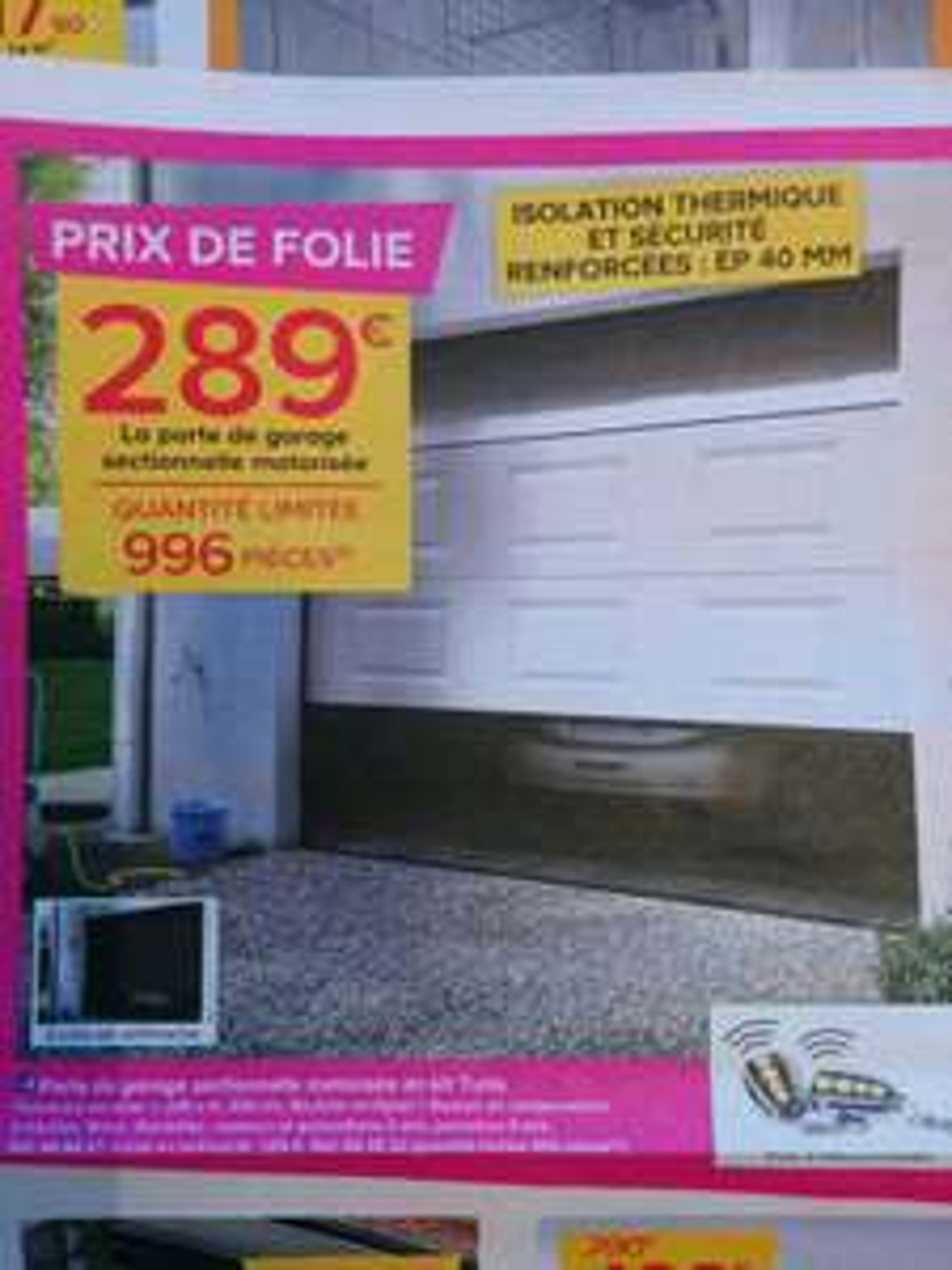 Porte de garage sectionnelle motorisée Turia (en kit, 240x200 cm, avec 2 télécommandes)