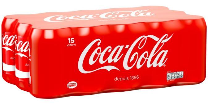 Pack de 15 canettes de Coca Cola ou Coca Cola Zéro - 15x33cl