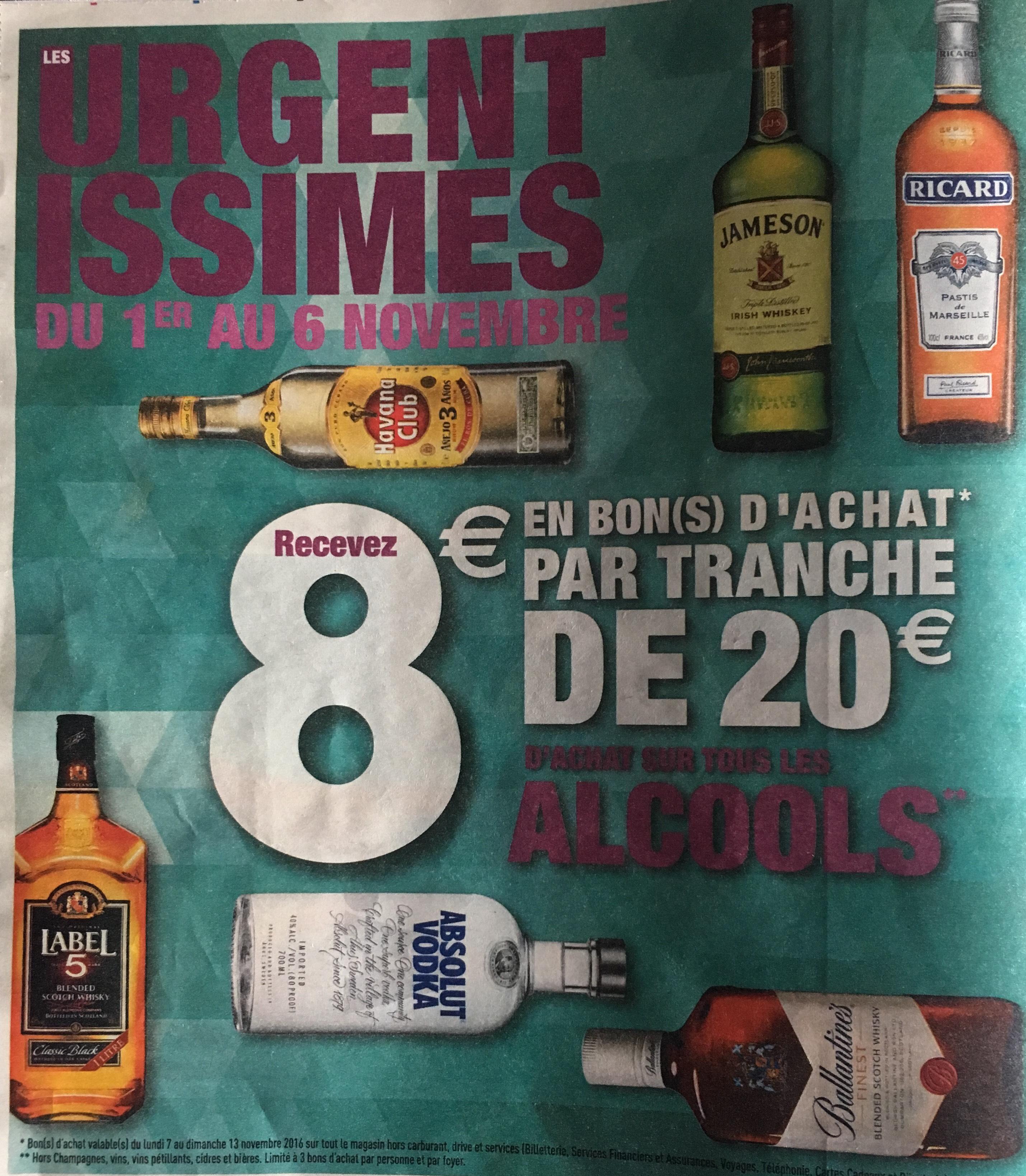 8€ offerts en bon d'achat par tranche de 20€ sur tous les alcools