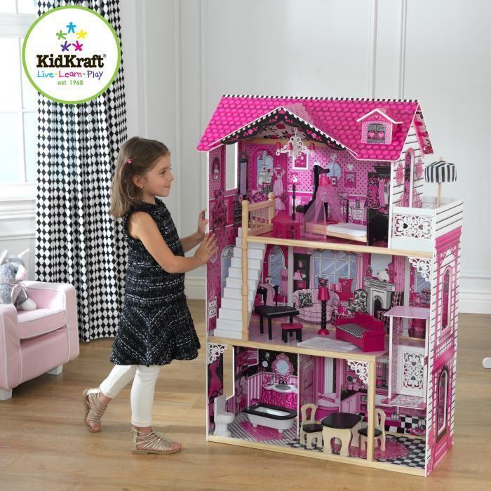 Maison de Poupées en Bois KidKraft Amélia + 14 pièces