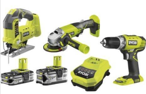 Lot de 3 outils Ryobi One+ - meuleuse + perceuse sans-fil + scie sauteuse pendulaire sans-fil (18 V, avec 2 batteries 1.5 Ah)
