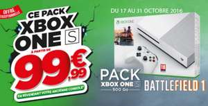 Console Microsoft Xbox One S 500 go + Battlefield 1 via reprise d'une PS4
