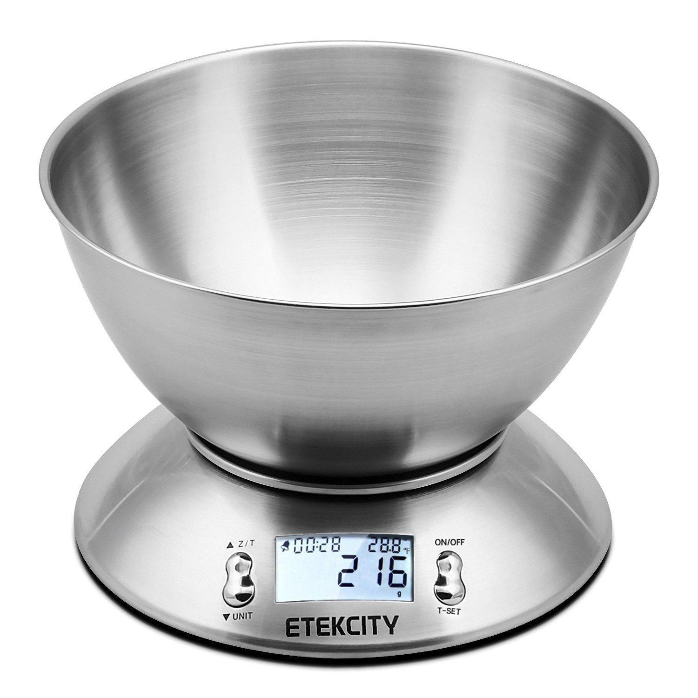 Balance de Cuisine Electronique Etekcity en Acier Inox avec Ecran Rétroéclairé et Bol amovible - Argent, 5kg