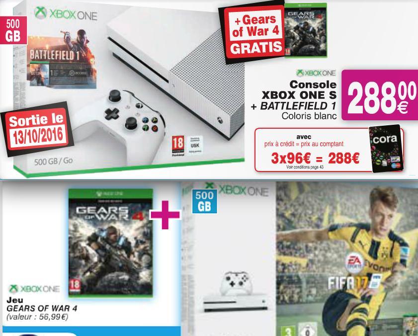 Console Microsoft Xbox One S 500 Go + Battlefield 1 + Gears of War 4