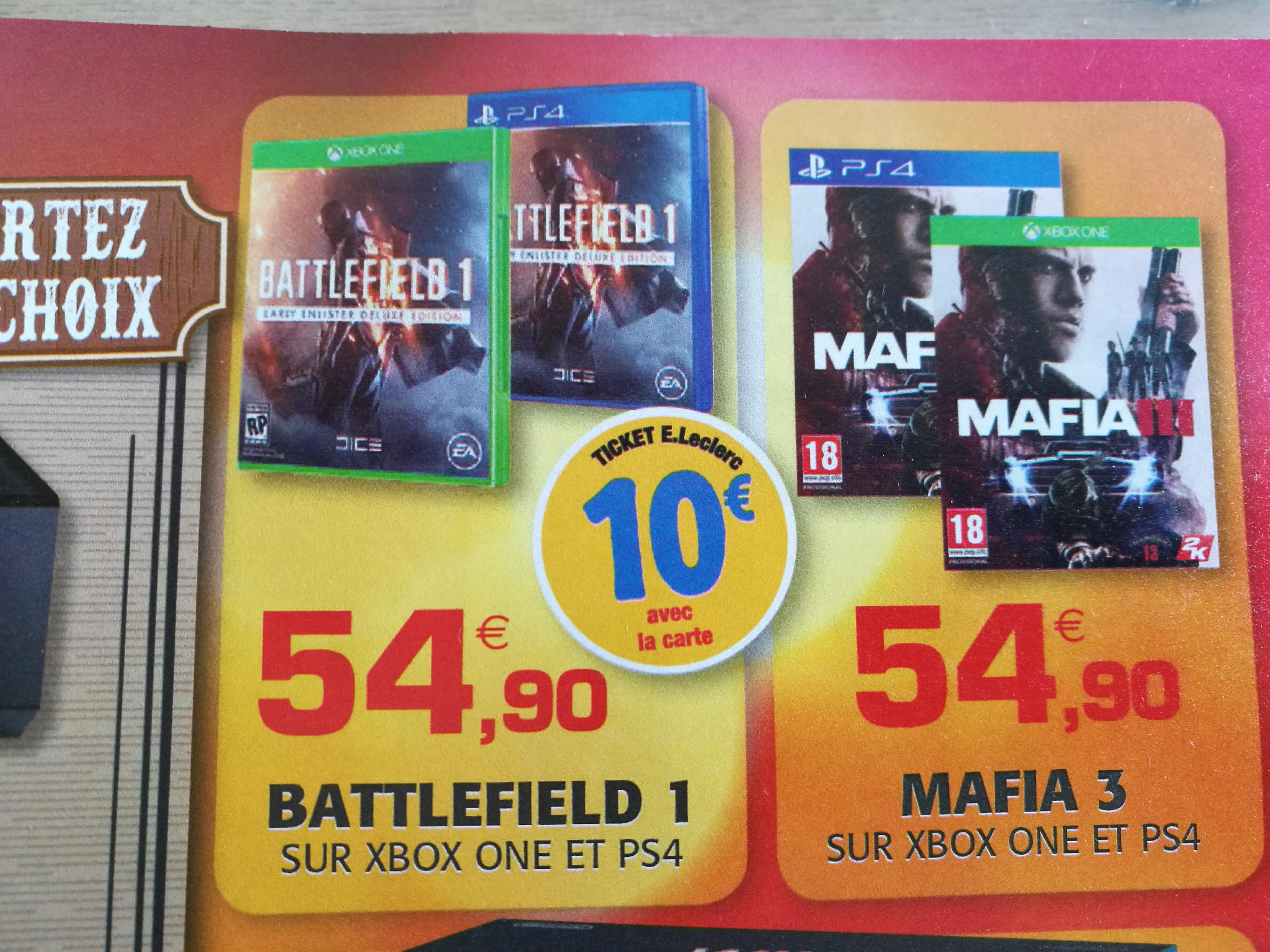 Battlefield 1 sur PS4 et Xbox One (avec 10€ sur la carte)