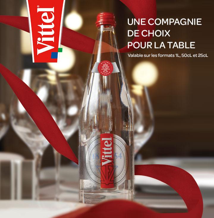 Bouteille Vittel en verre (1L, 50 cl, 25 cl) remboursée en restaurants, cafés, bars, hôtels