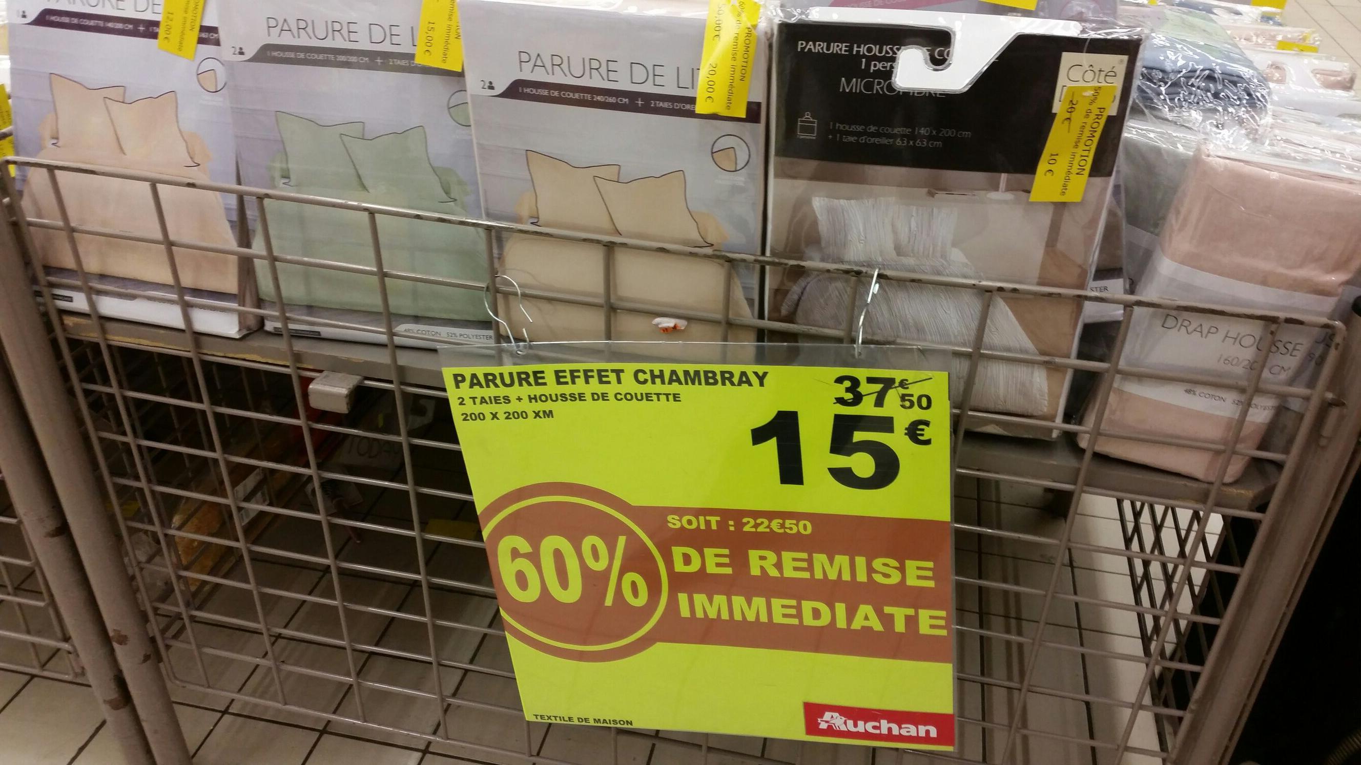 Sélection d'articles en promo - Ex: Parure de lit 2 Taies + Housse de couette (200 x 200cm) - Effet chambray