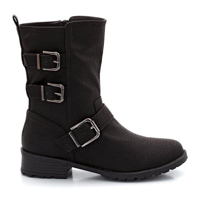 Boots style Motard pour Femmes - Noir, Tailles : 38 ou 40