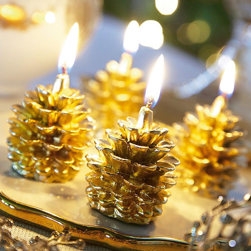 Sélection Décorations de Noël - Ex : Lot de 6 bougie pomme de pin