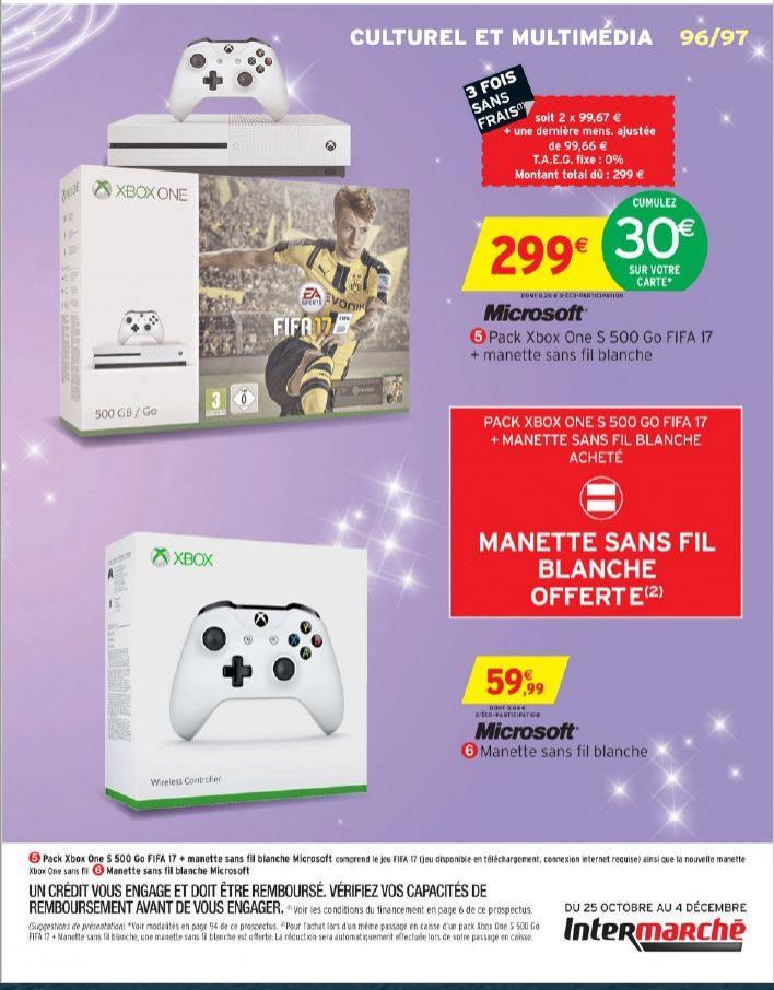 Console Microsoft Xbox One S 500Go  + 2ème manette + Fifa 17 (via 30€ carte fidélité)